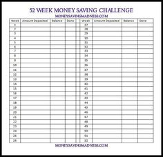 52 week money challenge - save what you want - blank challenge chart ...