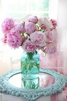 chic kitchen Shabby Chic Pink Peonies In Aqua Vase - Romantic Cottage Peonies Pink And Aqua Decor Wall Art Prints Photograph by Kathy Fornal Shabby Chic Pink, Shabby Chic Mode, Shabby Chic Living Room, Shabby Chic Bedrooms, Shabby Chic Cottage, Shabby Chic Style, Shabby Chic Furniture, Rustic Style, Romantic Cottage