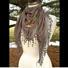 "Selling this ""Scarf Sarong taupe brown embroidered fringed NEW"" in my Poshmark closet! My username is: richbororiches. #shopmycloset #poshmark #fashion #shopping #style #forsale #Boutique #Accessories"