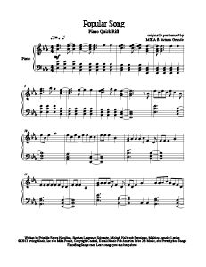 Popular Song - MIKA ft. Ariana Grande. Download free sheet music for over 250 hit songs at www.PianoBragSongs.com.