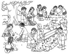 Students cleaning surrounding teaching art drawings for kids, picture compo Art Drawings For Kids, Drawing For Kids, Art For Kids, School Coloring Pages, Colouring Pages, Teaching Skills, Teaching Art, Letras Comic, Autumn