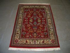 1970s Hand-Knotted Qum Persian Rug (3216) by carpetshopprincess on Etsy