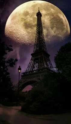 Latitude Run 'Moonlight In Paris' Graphic Art Print On Wrapped Canvas Size: Torre Effiel, Torre Eiffel Paris, Paris Eiffel Tower, Beautiful Paris, Paris Love, Beautiful World, Moon Photography, Paris Photography, Stars Night