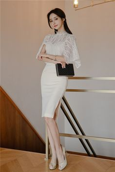 Edgy Outfits, Korean Outfits, Classy Outfits, Korean Fashion Dress, Fashion Dresses, Korea Dress, Sixties Fashion, Classy Dress, Clothes For Women