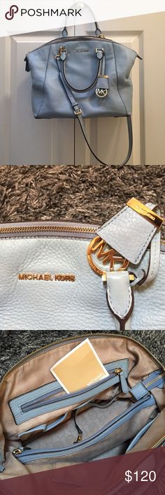 MICHAEL Michael Kors 'Large Riley' Satchel Pale blue with gold detail. This purse is Guaranteed Authentic as I have purchased it from Nordstrom. It is used and the signs of wear are shown in the 4th photo. It comes with the dust bag. Purse was used for 4 months. It still has so much life left. 🚫NO TRADES🚫 Michael Kors Bags Satchels