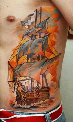Tattoo Artist - Dmitriy Samohin | Tattoo No. 6255  Tall ship tattoo