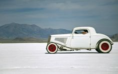 1932 Ford Hot Rod Coupe Sitting On The Bonneville Salt Flats