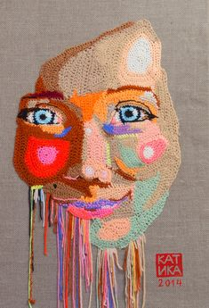 Self-portrait Crochet portrait on canvas by KatikaCrochetArt
