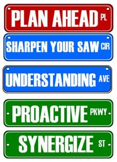 Street Signs for Seven Habits this totally made me think of ms. g my avid teacher.