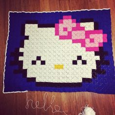 hello Kitty pixel crochet blanket by strawbsdesign