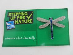 Charity Pin Badge RSPB Stepping Up For Nature Common Blue Damselfly Enamel Card