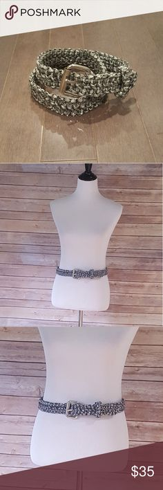 """Black and White Pararcord Belt Pararcord belt in shades of black, white and gray  •Handmade by my friend (this one she gave me ended up being a little too small) •Quality buckle in silver •Wear casually with jeans. Or fun to layer on top of a tunic top/sweater (Easy to adjust since not limited to preset holes)  Brand New - Never Worn  Approx. 37"""" including buckle, 35.5"""" excluding buckle Accessories Belts"""