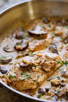 One Skillet Chicken with Garlicky Mushroom Cream Sauce from Little Spice Jar featured for Low-Carb Recipe Love on Fridays (7-8-16) found on KalynsKitchen.com