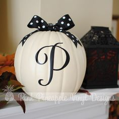 DIY Personalized Pumpkin Decorating Custom Letter Decal.