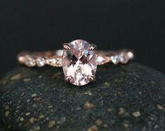 Fine Pink Morganite Oval 7x5mm 14k Rose Gold von Twoperidotbirds