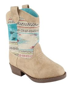 Look what I found on #zulily! Tan Geometric Cowboy Boot - Infant #zulilyfinds