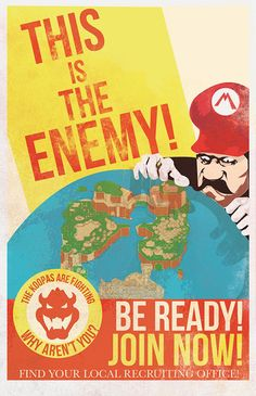 Mario Propaganda Posters: Long Live the King! (Koopa)  Fro Design Co. made these motivational war posters for Koopa sympathizers. Knowing how Mario's games always end, these posters must have been as ineffective as they are beautiful.