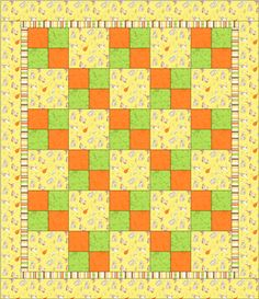 Four Patch Quilt (from Downy's Quilt for Kids) You will need 1-1/2 yards for the back, 1-1/4 yards of focus fabric, which includes the focus squares and the outer border, 1/4 yard for the inner border, and 3/8 yard each of two different colors for the four-patch blocks.