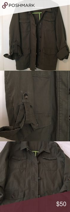 EXPRESS utility coat Lg NWOT, army green 4 pockets, turn-up sleeves, no flaws, never worn only tried on! Not my style. Smoke free home. 98% cotton/2% spandex. Express Jackets & Coats Utility Jackets