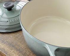 Casserole by Le Creuset.    Le Creuset began producing its first porcelain enamelled cast iron pots in 1925 from its foundry in Fresnoy le Grand, France. It is from this base that Le Creuset continues to produce its world famous cast iron pots.