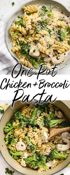 This one pot chicken and broccoli pasta recipe is quick, simple, easy, and you will love the creamy garlic sauce! It's ready in 30 minutes  - the perfect easy weeknight dinner recipe for busy families! Kid-friendly comfort food! #chickenpasta #pastarecipe #onepotmeal #dinnerrecipes #chickendinner