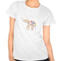 Flower Elephant Tee Shirts