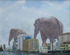Imaginative Illustrations of Giant Animals Invading Cities by Shuichi Nakano Godzilla, Paradise Painting, Tokyo, Giant Animals, Art Hoe Aesthetic, Surrealism Painting, Elephant Art, Illustrations, Public Art