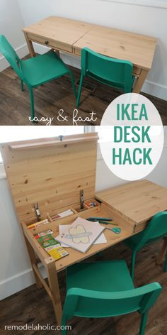 Simple and Fast IKEA Desk with Faux Drawer Fronts to Keep Kids Art Station with St ., Easy and fast IKEA desk with faux drawer fronts to walk around Kids Art Station with storage , Ikea Hemnes Desk, Diy Kallax, Trofast Ikea, Kids Art Station, Kids Homework Station, Homework Desk, Desk Storage, Kids Storage, Hidden Storage