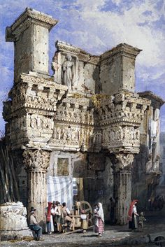 Forum of Nerva, Rome, by Samuel Prout