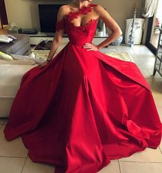 Red Long Prom Dress,Fashion Prom Dress,Sexy Party Dress,Custom Made Evening Dress Pretty Prom Dresses, Ball Dresses, Elegant Dresses, Beautiful Dresses, Red Ball Gowns, Prom Outfits, Mode Outfits, White Lace Wedding Dress, Sexy Party Dress