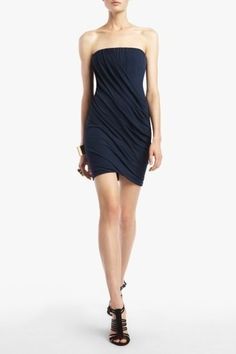 BCBG Navy Blue Iliana Strapless Draped Cocktail Dress.  MINE!