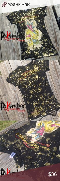"""""""SPLATTER DAZE"""" • custom cut up Ed Hardy tshirt •••☠️ BUNDLE & SAVE ☠️ DM ME TO BUNDLE! ☠️ WILL CONSIDER *ALL* REASONABLE OFFERS!  SPLATTER DAZE • Long & stretchy totally revamped and distressed Ed Hardy shirt. Is ripped and worn throughout and fits nicely on the body. Comfortable, stretchy, very unique!  Size OS (fits small/med/large)    #edhardy #christianaudigier #buckle #bke #affliction #distressed #worn #redone #restyle #custom #customtee #custommade #customdesign #customorder…"""