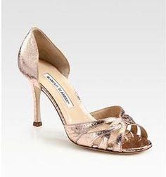 Women's Manolo Blahnik Snakeskin d'Orsay Peep Toe Pumps - Rose Gold