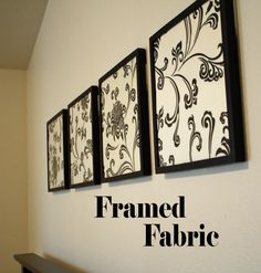 Framed Fabric Wall Decor —find a cute fabric that matches your bedroom colors, and you have a simple and inexpensive wall decoration idea!