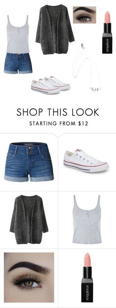 """Fabo"" by emilymelanson on Polyvore featuring LE3NO, Converse, Topshop and Smashbox"