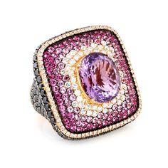18K AMETHYST, PINK SAPPHIRE & DIAMOND COCKTAIL RING