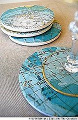 Recycled old map coasters.