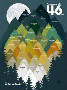 Conquering the 46ers - Adirondacks NY - New York - Art Print by DaydreamHunter on Etsy #adirondacks #adirondack #print #poster #newyork #ny #new #york #upstate #northeast #46ers #mountain #mountains #hiking #hike #climbing #climb #graphic #etsy #daydreamhuntercreations