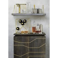 Upgrade your home organization with modern storage cabinets. Shop standing and mounted cabinets for the entryway, bedroom, living room and bar. Layout Design, Metal Shop Building, Home Bar Accessories, Bar Tray, Bar Shelves, Bookshelf Bar, Mounted Shelves, Open Shelving, Home Bar Decor