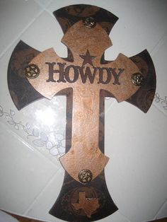 Wooden Wall Cross Texas A & M Howdy by cthorses66 on Etsy, $35.00