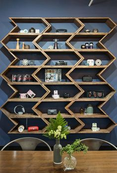 A custom Etsy wall unit displays wearable tech pieces. Beautiful Interior Design, Home Interior Design, Office Wall Shelves, Wall Design, House Design, Unique Shelves, Retail Shelving, Bookshelf Styling, Creative Walls