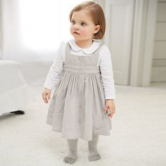 Buy The Little White Company  New Arrivals  Cord Pinny Dress - Grey from The White Company