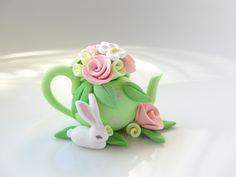 White Rabbit by a Teapot, by Caroline Fisermanis