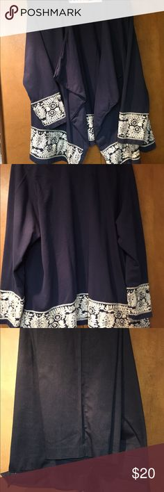 Lucky Lotus cotton open cardigan with embroidery Navy with cream embroidery all around. In very good used condition. Lucky Lotus Tops Tunics