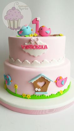 Torta de pajaritos Cake Decorating For Beginners, Cake Decorating With Fondant, 1st Bday Cake, Cool Birthday Cakes, Fondant Cakes, Cupcake Cakes, Aniversario Peppa Pig, Maya Mia, Tooth Cake