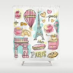 Paris Elements Shower Curtain Shower Decor Modern by AboutMoments