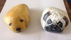 Peinture sur roche : chiens..nicely painted Rock dogs!