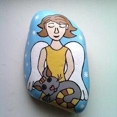 Malovaný kámen -  Andělka s kočičkou.