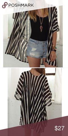 Cool Summer Stripe Vest Kimono Vest / One Size / 100% Cotton / Colors Available : Navy, White, Khaki, And this one Black ! Swim Coverups