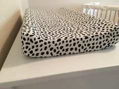 Modern black and White changing pad cover, black and white nursery, spotted black, modern baby bedding, contoured changing pad cover